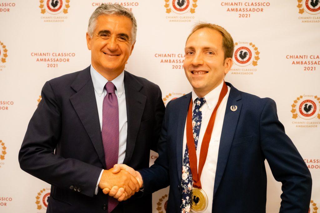 Giovanni Manetti shaking hands with Sebastian Wöll, Germany's first Chianti Classico Ambassador